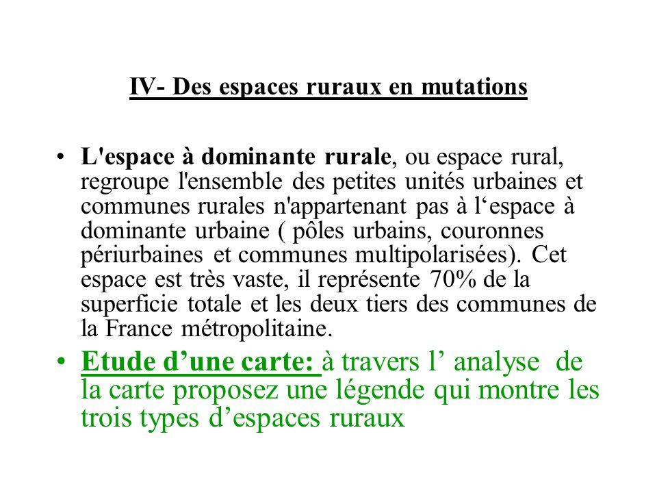 IV- Des espaces ruraux en mutations L'espace à dominante rurale, ou espace rural, regroupe l'ensemble des petites unités urbaines et communes rurales