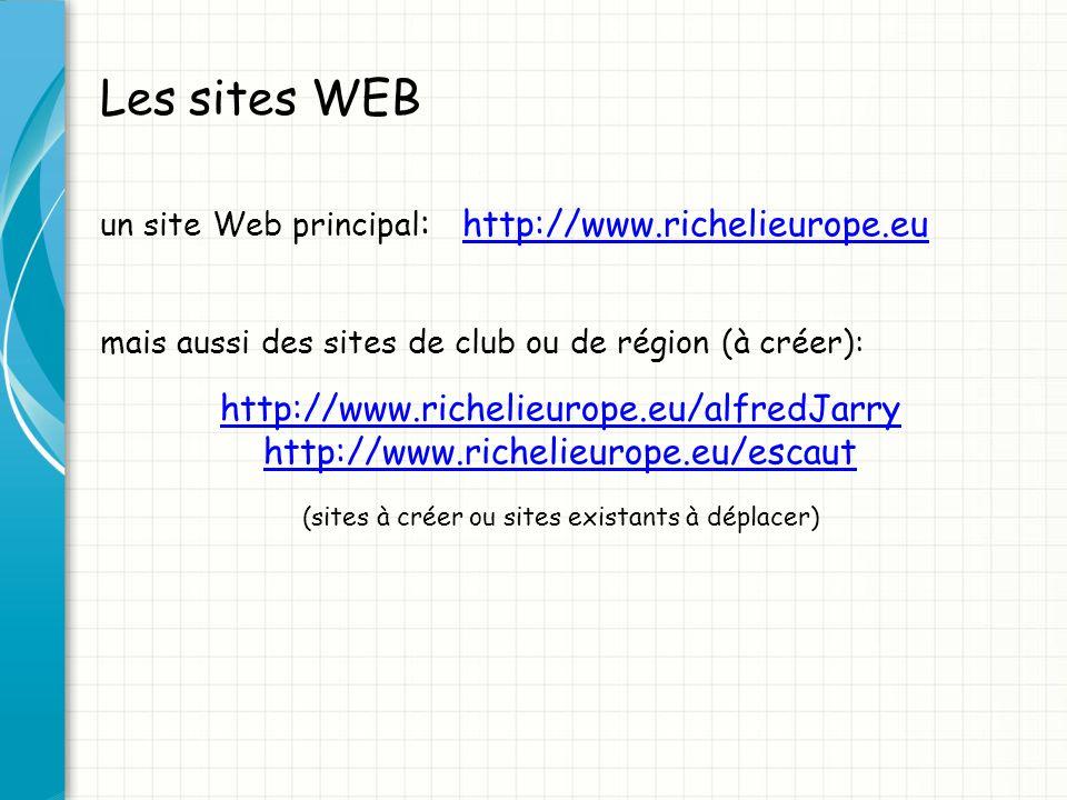 Les sites WEB un site Web principal : http://www.richelieurope.euhttp://www.richelieurope.eu mais aussi des sites de club ou de région (à créer): http://www.richelieurope.eu/alfredJarry http://www.richelieurope.eu/escaut (sites à créer ou sites existants à déplacer)