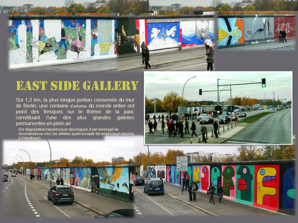 Sur 1,3 km, la plus longue portion conservée du mur de Berlin, une centaine dartistes du monde entier ont peint des fresques sur le thème de la paix, constituant lune des plus grandes galeries permanentes en plein air.