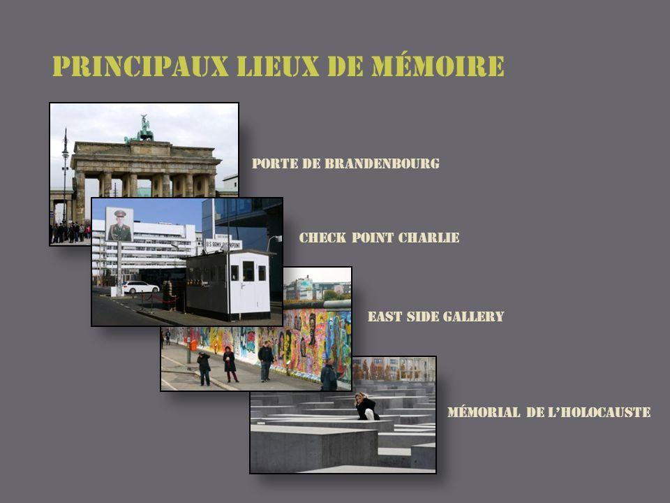 Photos de la ville avant la chute du mur (à gauche : le Reichstag ; à droite lavenue « Unter den Linden » Quelques perspectives des alignements du mémorial