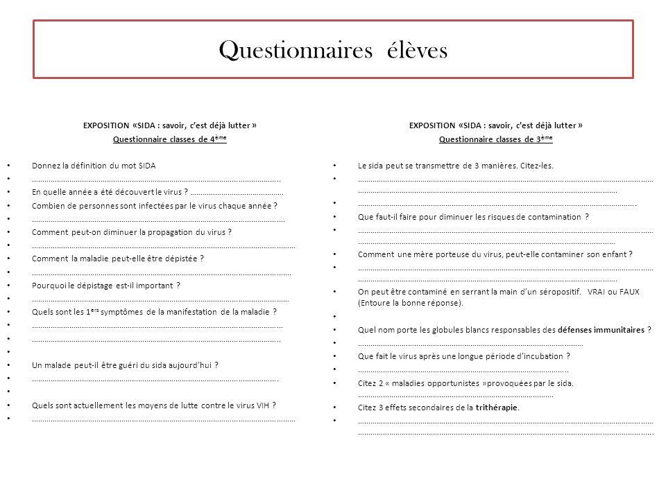 Questionnaires élèves EXPOSITION «SIDA : savoir, cest déjà lutter » Questionnaire classes de 4 ème Donnez la définition du mot SIDA ………………………………………………