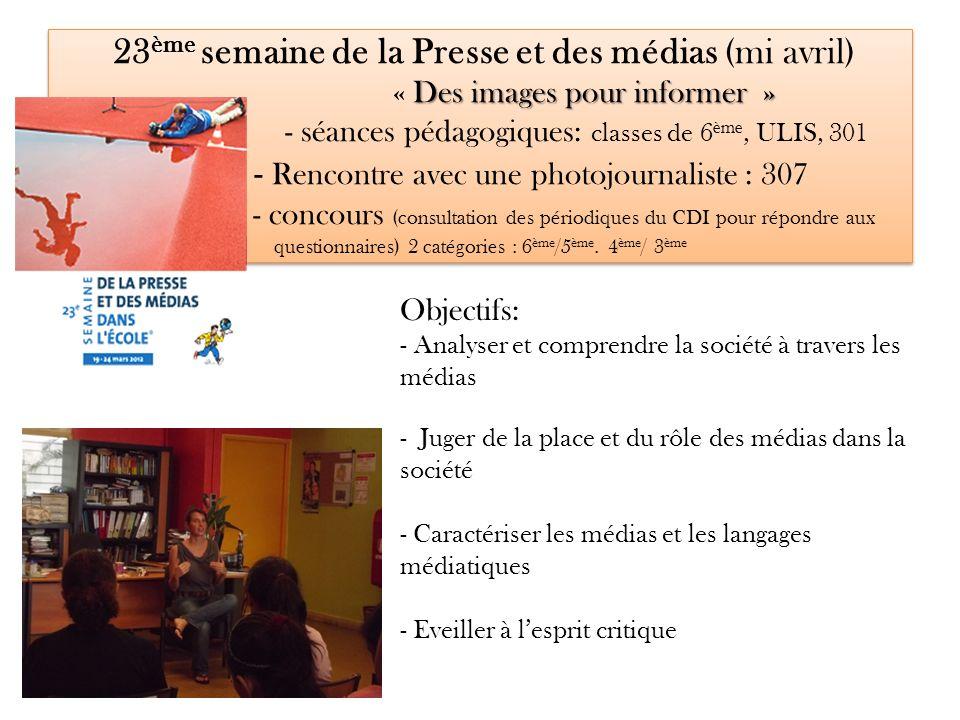 17 avril: Rencontre avec Martina BACIGALUPO Photojournaliste de lAgence VU 307 LPC : validation des items acquis (Palier 3): Compétences 1, 5 et 7 Mars- Avril : Préparation de la rencontre (Groupes de travail) 1)recherches sur les thèmes suivants: le photojournalisme les agences de Presse lAgence Vu le Prix Canon de la femme photojournaliste 2) préparation de linterview Déroulement de la rencontre: les élèves ont interrogé la photojournaliste sur les métiers de la Presse, son travail sur le terrain avec les ONG (au Burundi et en Ouganda).