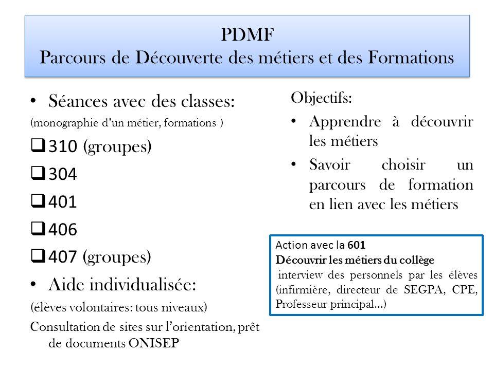 PDMF Parcours de Découverte des métiers et des Formations Séances avec des classes: (monographie dun métier, formations ) 310 (groupes) 304 401 406 40