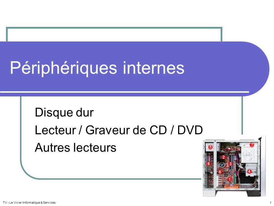TV - Le Vivier Informatique & Services 1 Périphériques internes Disque dur Lecteur / Graveur de CD / DVD Autres lecteurs