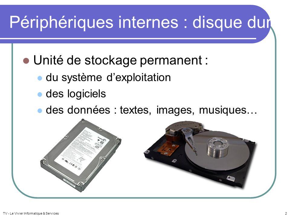 TV - Le Vivier Informatique & Services2 Périphériques internes : disque dur Unité de stockage permanent : du système dexploitation des logiciels des données : textes, images, musiques…