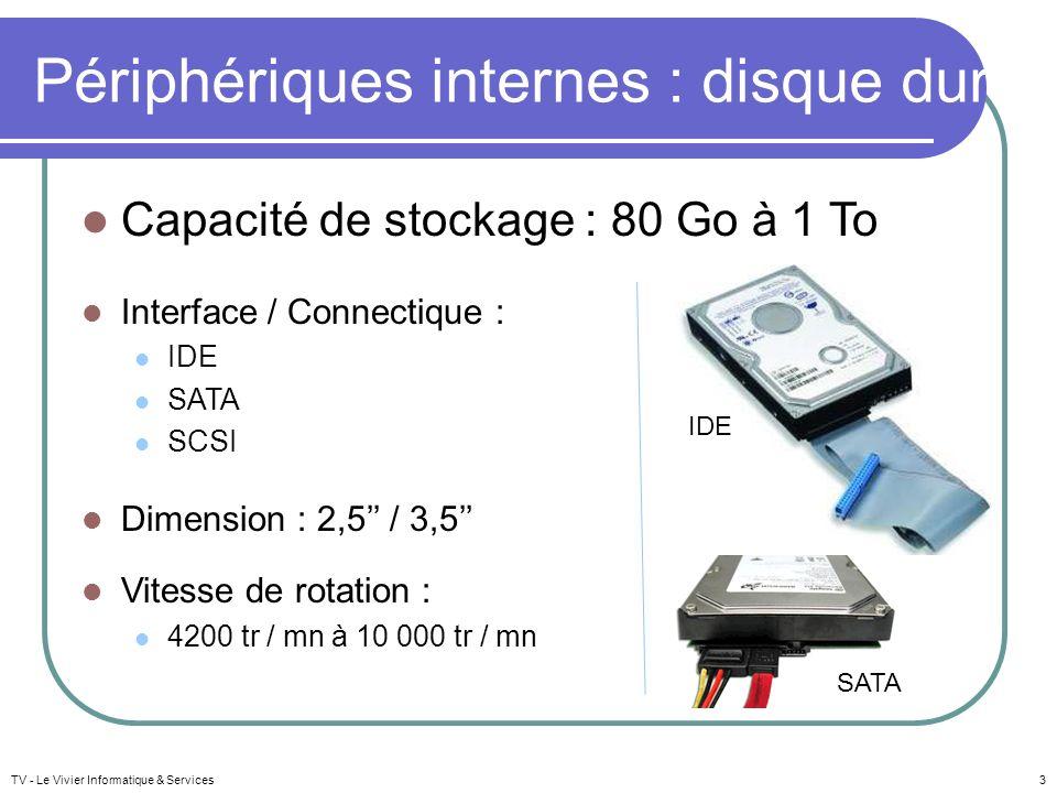 Capacité de stockage : 80 Go à 1 To Interface / Connectique : IDE SATA SCSI Dimension : 2,5 / 3,5 Vitesse de rotation : 4200 tr / mn à 10 000 tr / mn Périphériques internes : disque dur TV - Le Vivier Informatique & Services3 IDE SATA