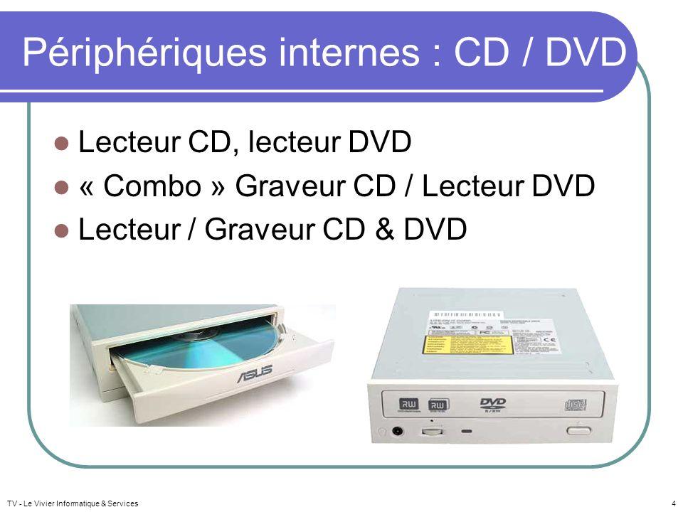 TV - Le Vivier Informatique & Services4 Périphériques internes : CD / DVD Lecteur CD, lecteur DVD « Combo » Graveur CD / Lecteur DVD Lecteur / Graveur CD & DVD