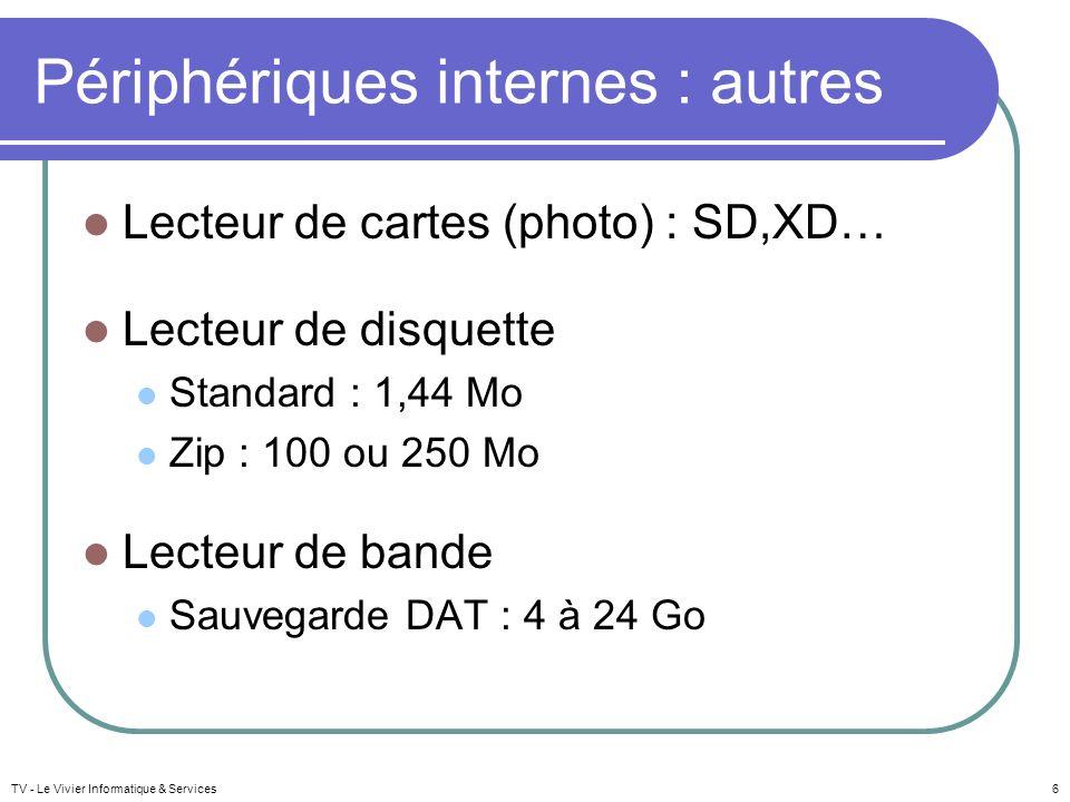 TV - Le Vivier Informatique & Services6 Périphériques internes : autres Lecteur de cartes (photo) : SD,XD… Lecteur de disquette Standard : 1,44 Mo Zip : 100 ou 250 Mo Lecteur de bande Sauvegarde DAT : 4 à 24 Go