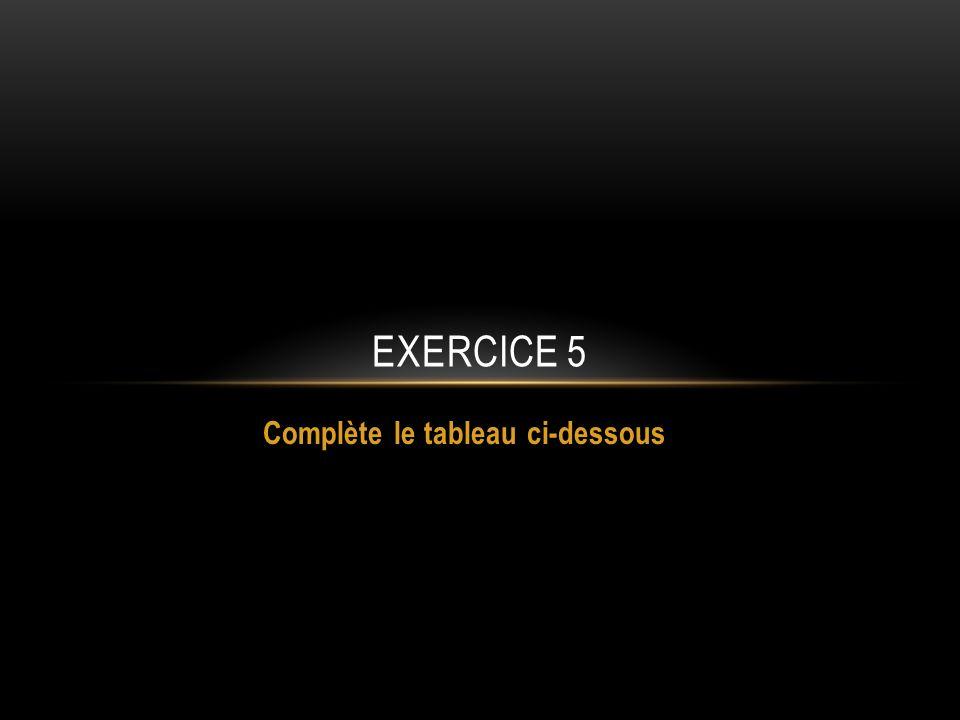 EXERCICE 5 Complète le tableau ci-dessous