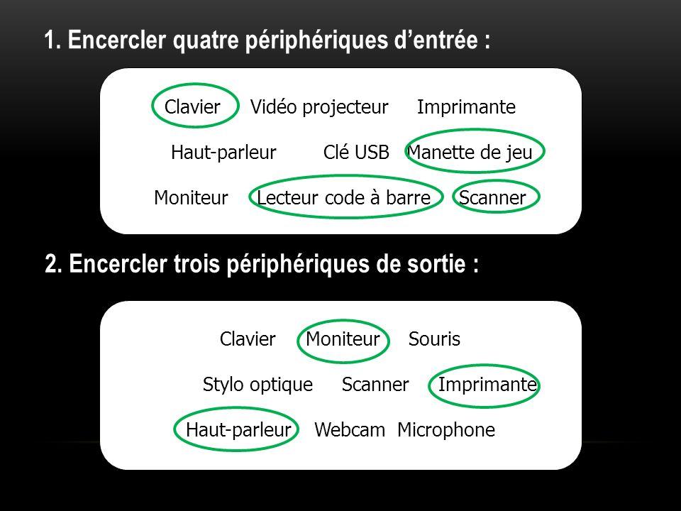 1. Encercler quatre périphériques dentrée : Clavier Vidéo projecteur Imprimante Haut-parleur Clé USB Manette de jeu Moniteur Lecteur code à barre Scan