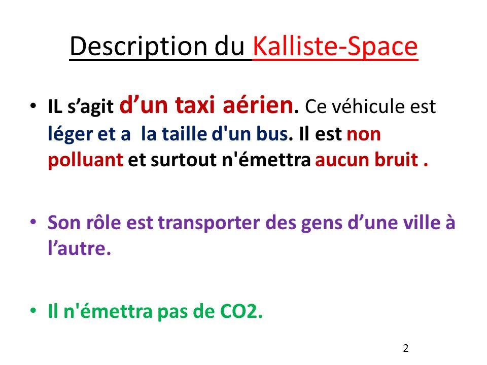 Description du Kalliste-Space IL sagit dun taxi aérien.