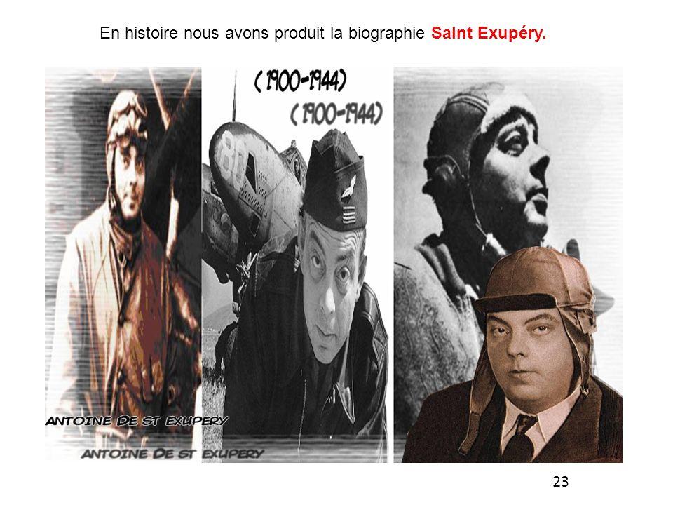 En histoire nous avons produit la biographie Saint Exupéry. 23