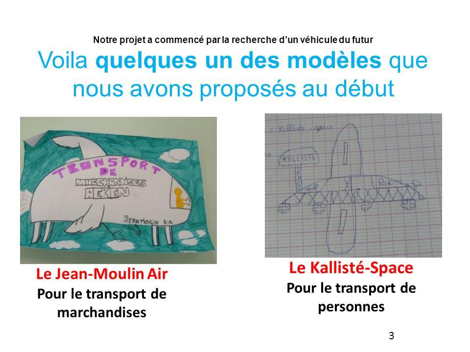 Le Jean-Moulin Air Pour le transport de marchandises Le Kallisté-Space Pour le transport de personnes Notre projet a commencé par la recherche dun véhicule du futur Voila quelques un des modèles que nous avons proposés au début 3