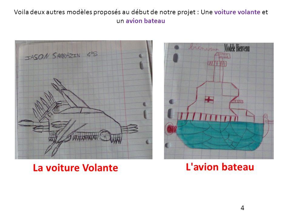 Voila deux autres modèles proposés au début de notre projet : Une voiture volante et un avion bateau La voiture Volante L avion bateau 4