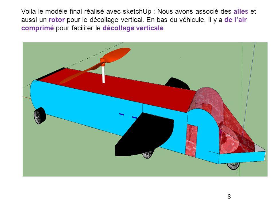 Voila le modèle final réalisé avec sketchUp : Nous avons associé des ailes et aussi un rotor pour le décollage vertical.