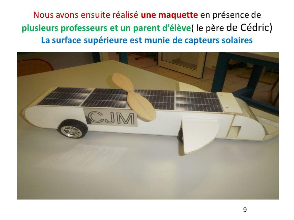 Nous avons ensuite réalisé une maquette en présence de plusieurs professeurs et un parent délève( le père de Cédric) La surface supérieure est munie de capteurs solaires 9