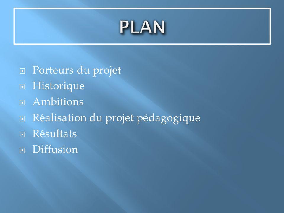 Porteurs du projet Historique Ambitions Réalisation du projet pédagogique Résultats Diffusion