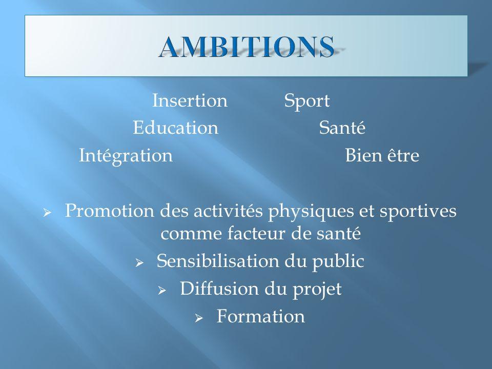 Insertion Sport Education Santé Intégration Bien être Promotion des activités physiques et sportives comme facteur de santé Sensibilisation du public Diffusion du projet Formation