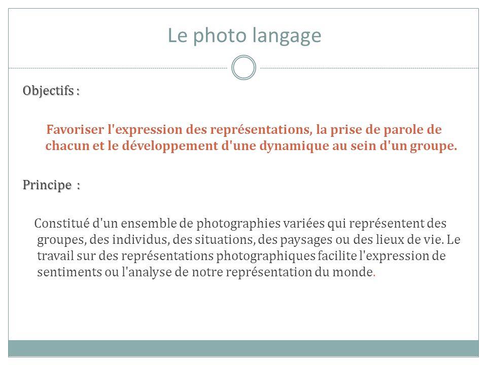 Le photo langage Objectifs : Favoriser l'expression des représentations, la prise de parole de chacun et le développement d'une dynamique au sein d'un