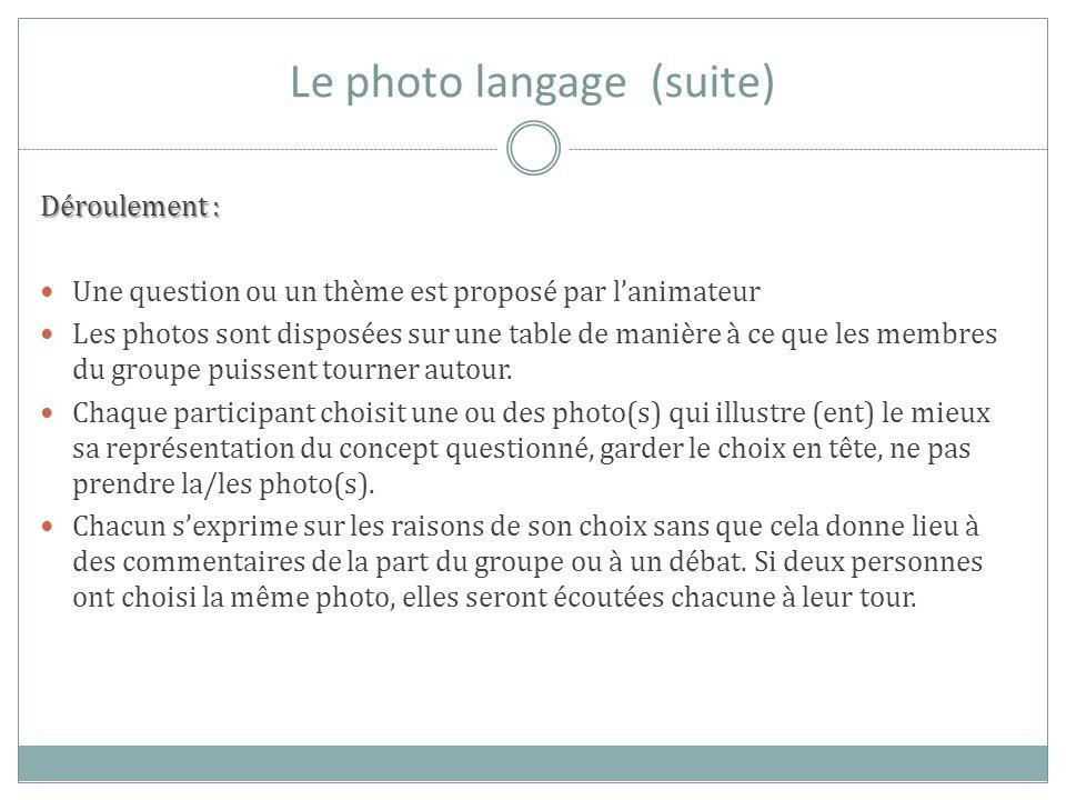 Le photo langage (suite) Déroulement : Une question ou un thème est proposé par lanimateur Les photos sont disposées sur une table de manière à ce que