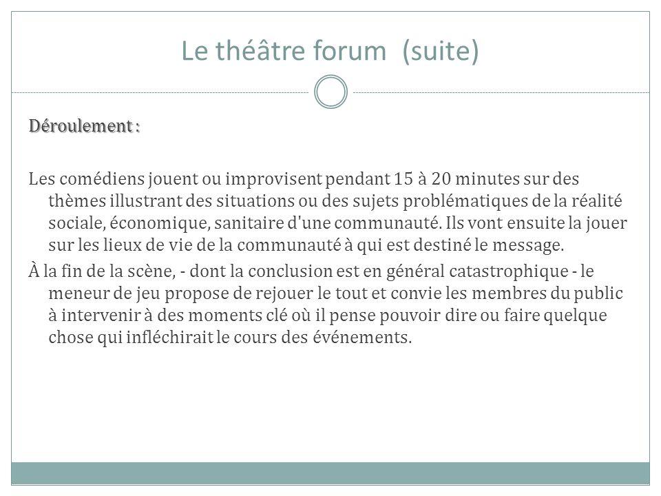 Le théâtre forum (suite) Déroulement : Les comédiens jouent ou improvisent pendant 15 à 20 minutes sur des thèmes illustrant des situations ou des suj