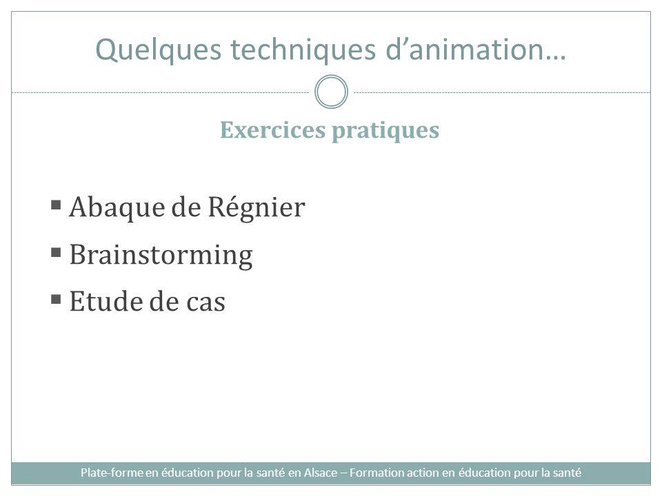 Quelques techniques danimation… Exercices pratiques Abaque de Régnier Brainstorming Etude de cas Plate-forme en éducation pour la santé en Alsace – Fo