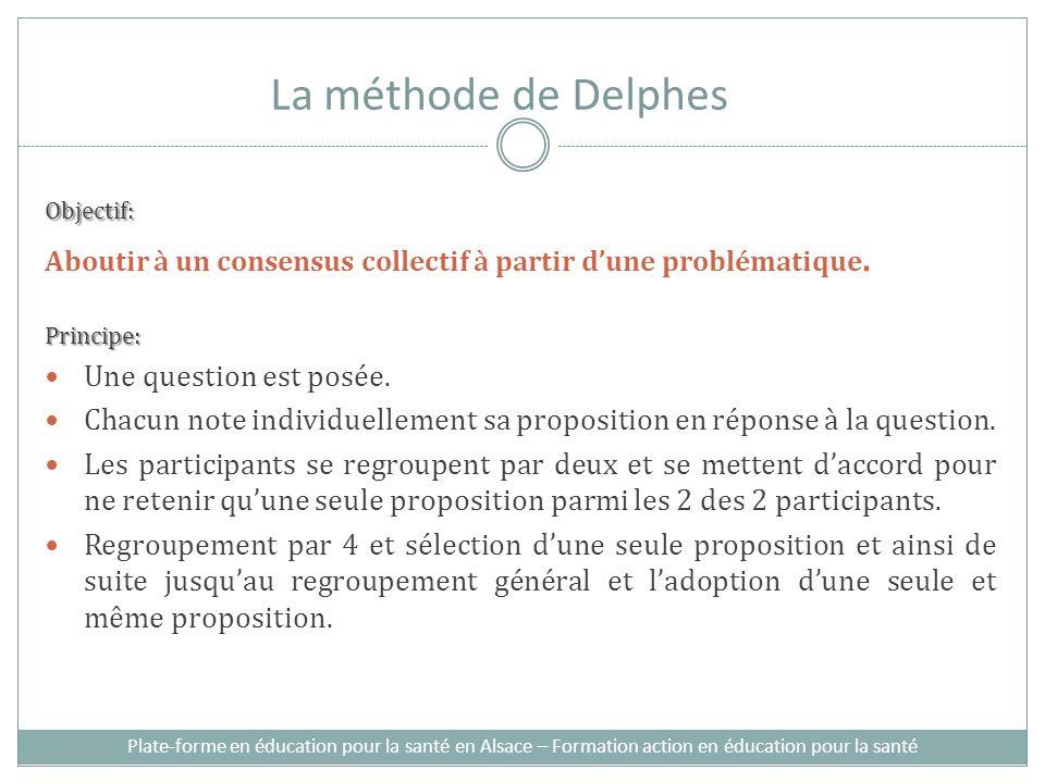 Plate-forme en éducation pour la santé en Alsace – Formation action en éducation pour la santé La méthode de Delphes Objectif: Aboutir à un consensus