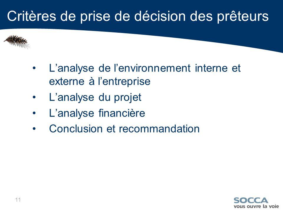 11 Lanalyse de lenvironnement interne et externe à lentreprise Lanalyse du projet Lanalyse financière Conclusion et recommandation Critères de prise de décision des prêteurs