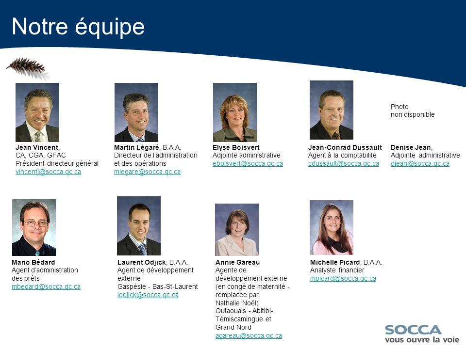 13 Notre équipe Jean Vincent, CA, CGA, GFAC Président-directeur général vincentj@socca.qc.ca vincentj@socca.qc.ca Martin Légaré, B.A.A.
