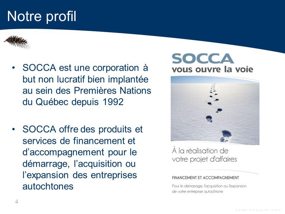 4 SOCCA est une corporation à but non lucratif bien implantée au sein des Premières Nations du Québec depuis 1992 SOCCA offre des produits et services de financement et daccompagnement pour le démarrage, lacquisition ou lexpansion des entreprises autochtones Notre profil
