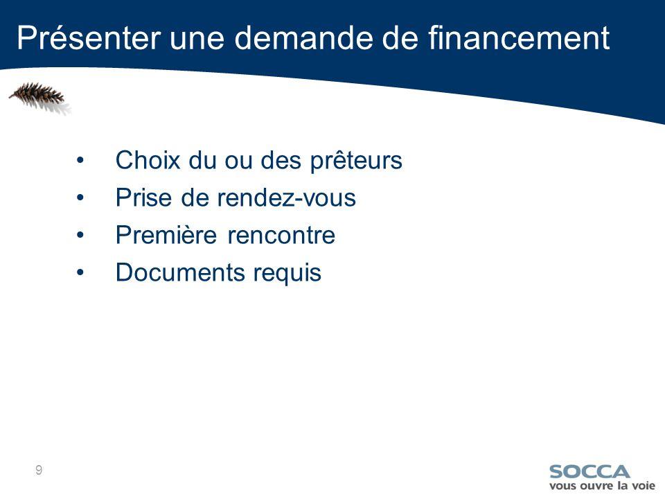 9 Choix du ou des prêteurs Prise de rendez-vous Première rencontre Documents requis Présenter une demande de financement