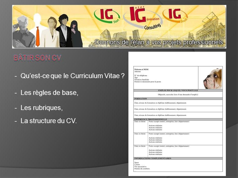 - Quest-ce que le Curriculum Vitae ? - Les règles de base, - Les rubriques, - La structure du CV.