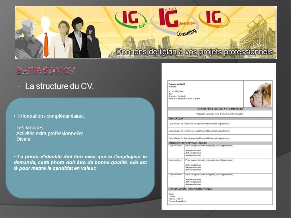 - La structure du CV. Informations complémentaires, - Les langues - Activités extra-professionnelles - Divers La photo d'identité doit être mise que s