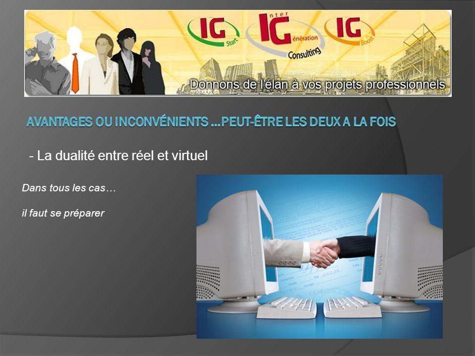 - La dualité entre réel et virtuel Dans tous les cas… il faut se préparer