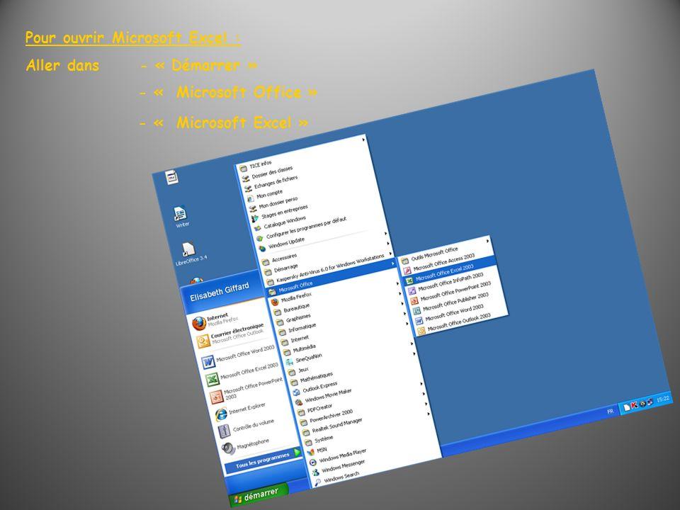 Pour ouvrir Microsoft Excel : Aller dans - « Démarrer » - « Microsoft Office » - « Microsoft Excel »