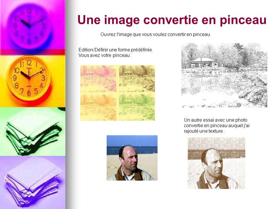 Une image convertie en pinceau Ouvrez l'image que vous voulez convertir en pinceau Edition/Définir une forme prédéfinie. Vous avez votre pinceau : Un