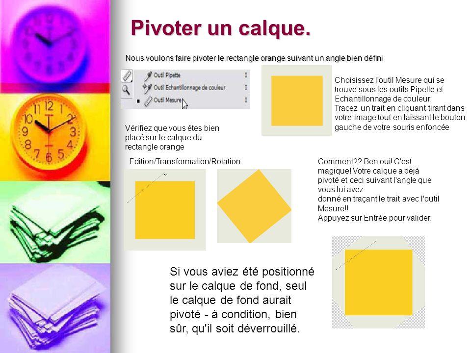 Pivoter un calque. Nous voulons faire pivoter le rectangle orange suivant un angle bien défini Choisissez l'outil Mesure qui se trouve sous les outils