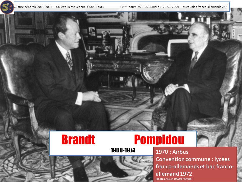 BrandtPompidou 1969-1974 1970 : Airbus Convention commune : lycées franco-allemands et bac franco- allemand 1972 (photo prise en 19629 à lElysée) Cult