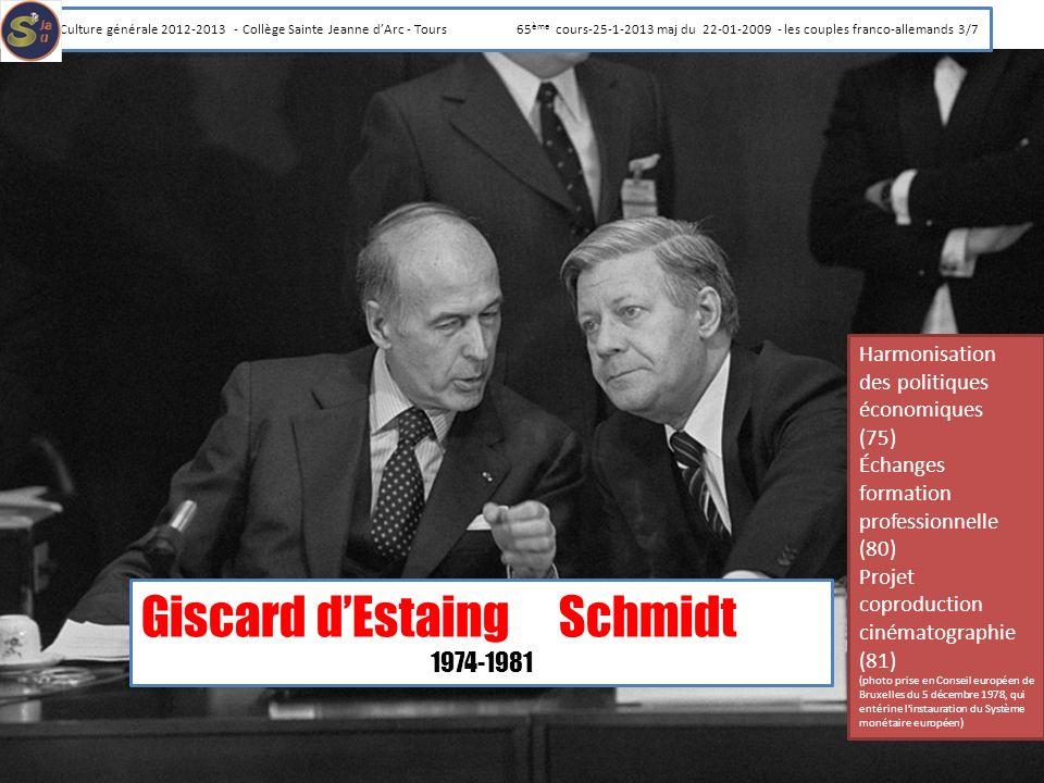 Giscard dEstaingSchmidt 1974-1981 Harmonisation des politiques économiques (75) Échanges formation professionnelle (80) Projet coproduction cinématogr