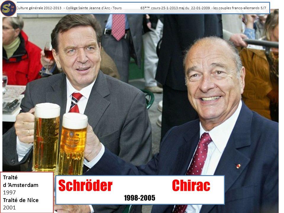 SchröderChirac 1998-2005 Traité d Amsterdam 1997 Traité de Nice 2001 Culture générale 2012-2013 - Collège Sainte Jeanne dArc - Tours 65 ème cours-25-1