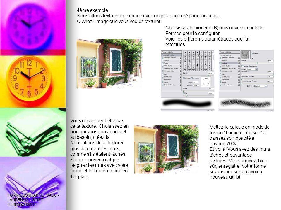 4ème exemple. Nous allons texturer une image avec un pinceau créé pour l occasion.