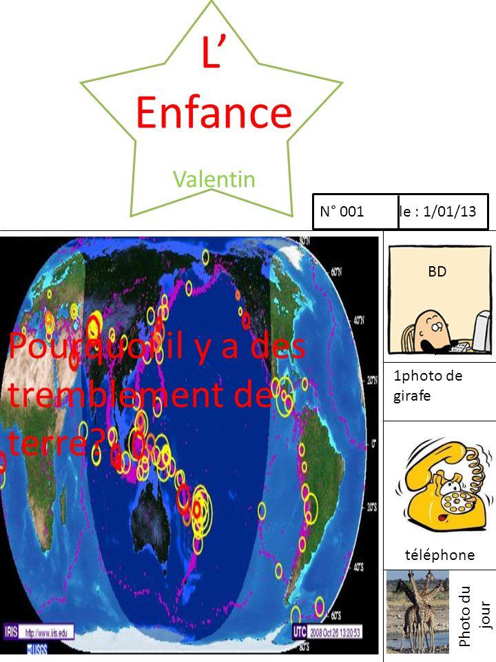 L Enfance Valentin Pourquoi il y a des tremblement de terre? N° 001 le : 1/01/13 BD 1photo de girafe téléphone Photo du jour