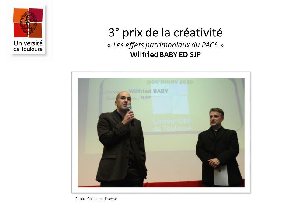 3° prix de la créativité « Les effets patrimoniaux du PACS » Wilfried BABY ED SJP Photo: Guillaume Fraysse