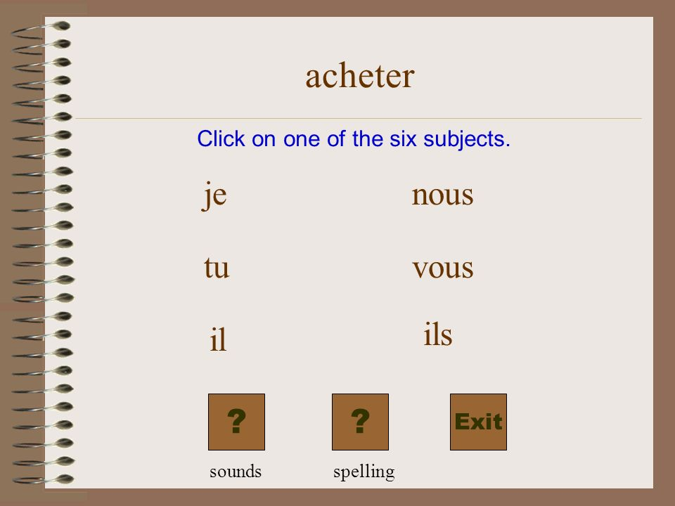 acheter Exit Click on one of the six subjects. je tu il nous vous ils ?? soundsspelling
