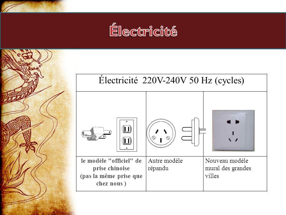 Électricité 220V-240V 50 Hz (cycles) le modèle