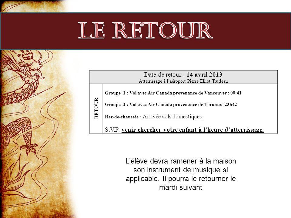 Date de retour : 14 avril 2013 Atterrissage à laéroport Pierre Elliot Trudeau RETOUR Groupe 1 : Vol avec Air Canada provenance de Vancouver : 00:41 Gr