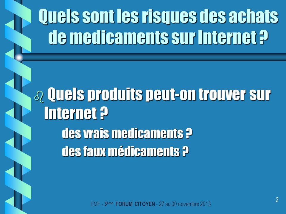 3 Quels sont les risques des achats de medicaments sur Internet .