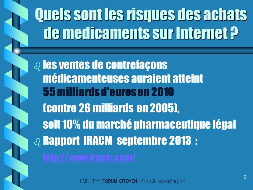 3 Quels sont les risques des achats de medicaments sur Internet ? b b les ventes de contrefaçons médicamenteuses auraient atteint 55 milliards d'euros