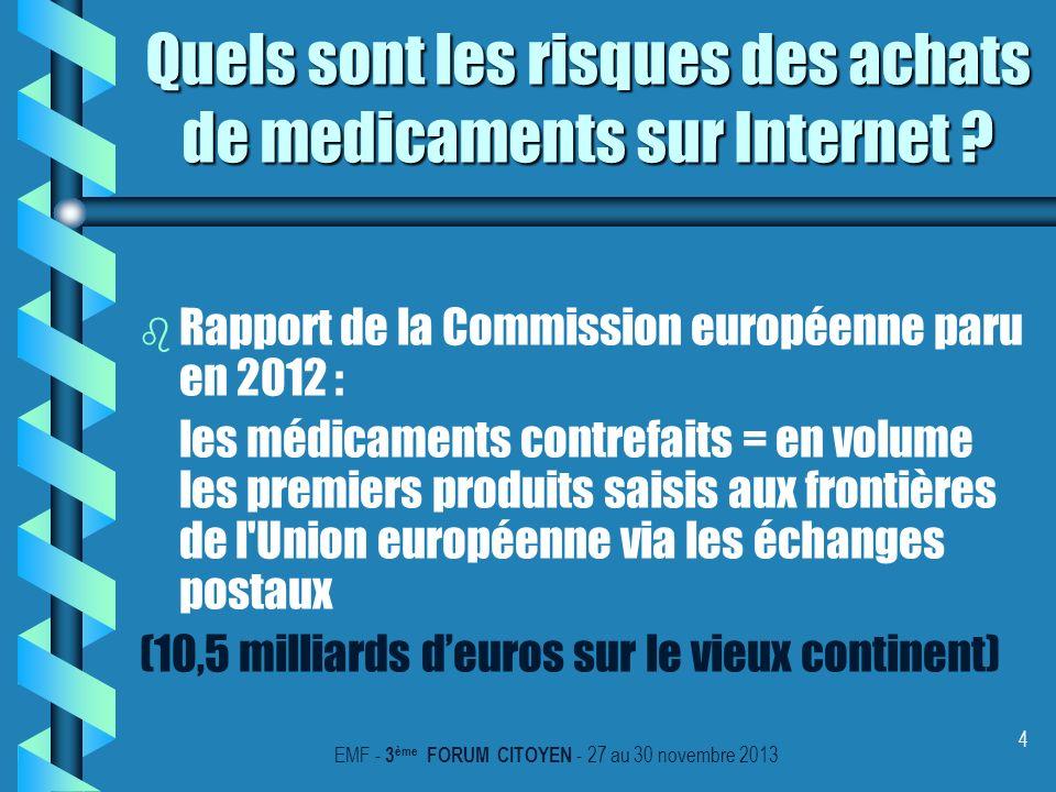 4 Quels sont les risques des achats de medicaments sur Internet ? b b Rapport de la Commission européenne paru en 2012 : les médicaments contrefaits =