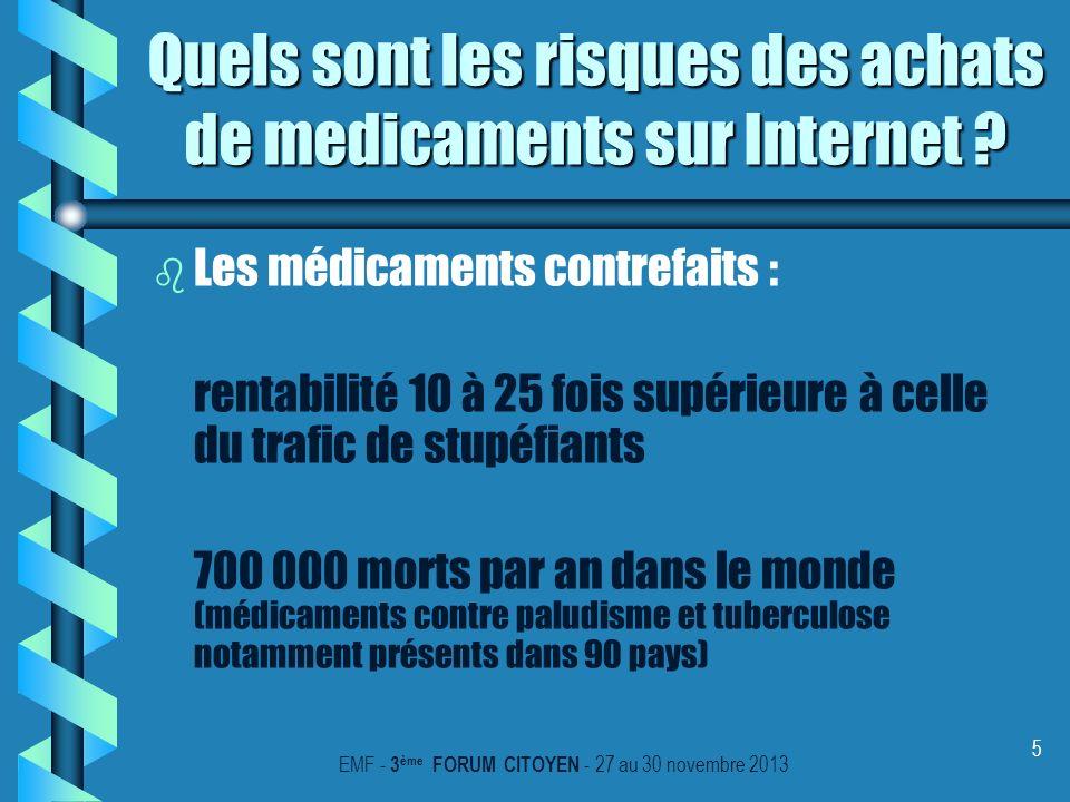 5 Quels sont les risques des achats de medicaments sur Internet ? b b Les médicaments contrefaits : rentabilité 10 à 25 fois supérieure à celle du tra